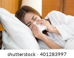 asian woman sneezing in a... | Shutterstock . vector #401283997