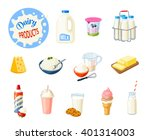 set of cartoon food  dairy...