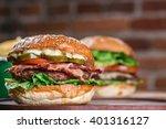 fresh burger closeup. sesame... | Shutterstock . vector #401316127
