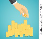 hand put coin to stacks of... | Shutterstock .eps vector #401316877