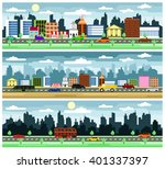city street with various urban... | Shutterstock .eps vector #401337397