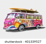 retro bus with surf boards | Shutterstock .eps vector #401339527