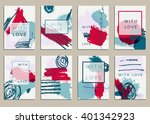 set of universal cards. hand... | Shutterstock .eps vector #401342923