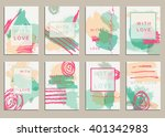 set of universal cards. hand... | Shutterstock .eps vector #401342983