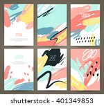 set of brochures with hand... | Shutterstock .eps vector #401349853