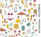 vector summer vacation seamless ... | Shutterstock .eps vector #401358643