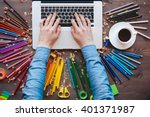 graphic designer at work. color ... | Shutterstock . vector #401371987
