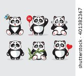 cute panda  stickers collection ... | Shutterstock .eps vector #401382367