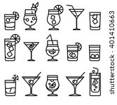 cocktail thin line icons.... | Shutterstock .eps vector #401410663