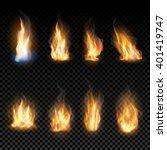 fire flames on a transparent... | Shutterstock .eps vector #401419747