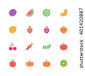fruits and vegetables icons | Shutterstock .eps vector #401420887