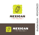 vector colorful mexican food... | Shutterstock .eps vector #401423623