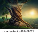 big fantasy tree and the city | Shutterstock . vector #401428627