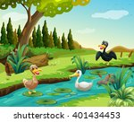 Ducks By The River Illustration