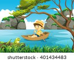 boy rowing boat alone in the... | Shutterstock .eps vector #401434483