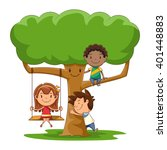 Children And Tree  Vector...