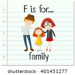 flashcard letter f is for family | Shutterstock .eps vector #401451277