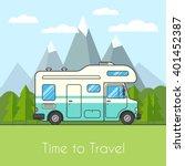 caravan van driving on the road ... | Shutterstock .eps vector #401452387