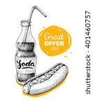 vector vintage fast food... | Shutterstock .eps vector #401460757