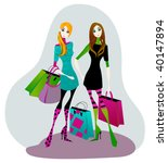 Elegant Women With Shopping Bags