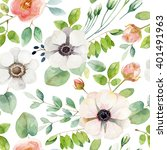 seamless floral pattern with... | Shutterstock . vector #401491963