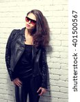 fashion model in sunglasses ... | Shutterstock . vector #401500567