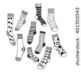 black and white doodle socks... | Shutterstock .eps vector #401503543