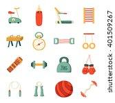 set of vector cartoon gym icons.... | Shutterstock .eps vector #401509267