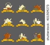 tea ceremony vector set with... | Shutterstock .eps vector #401509273