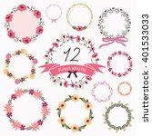 set of flower wreaths | Shutterstock .eps vector #401533033