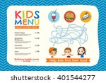 cute colorful kids meal menu... | Shutterstock .eps vector #401544277