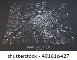manchester map  satellite view  ... | Shutterstock . vector #401616427