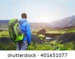 Hiker With Backpack Enjoying...