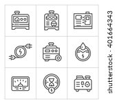 set line icons of electrical...