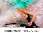 beautiful young woman in a... | Shutterstock . vector #401672257