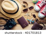 travel clothing accessories... | Shutterstock . vector #401701813