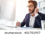 tech support manager in headset ... | Shutterstock . vector #401701957
