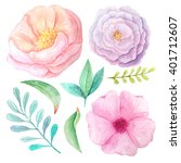 set of hand painted watercolor... | Shutterstock . vector #401712607