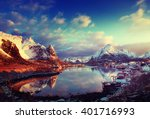 snow in reine village  lofoten... | Shutterstock . vector #401716993