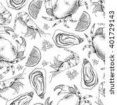 sea food seamless pattern.... | Shutterstock .eps vector #401729143