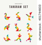 colorful set of tangram game... | Shutterstock .eps vector #401744833
