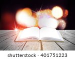 abstract magic book on wooden... | Shutterstock . vector #401751223