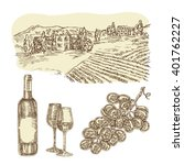 wine vector set. hand drawn... | Shutterstock .eps vector #401762227