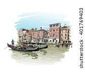 italy. venice. hand drawn... | Shutterstock .eps vector #401769403