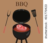 Barbecue  Grill Party. Vector...