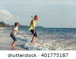 happy children playing on the... | Shutterstock . vector #401775187
