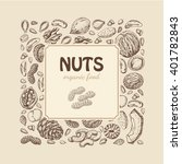 vector square frame of nuts and ... | Shutterstock .eps vector #401782843