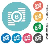 flat bitcoins sign icon set on...