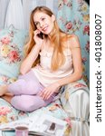 beautiful girl talking to...   Shutterstock . vector #401808007