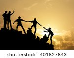 group of people on peak... | Shutterstock . vector #401827843